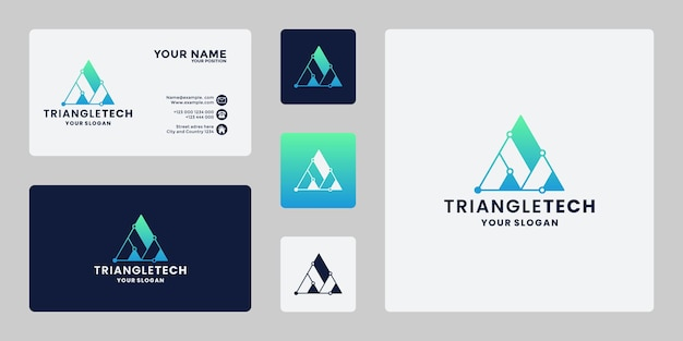 Letter a technology triangle concept with dot connected logo design