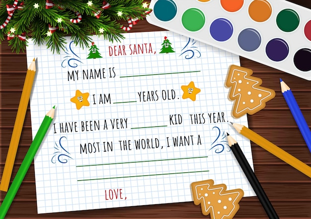 Letter template to the santa on christmas