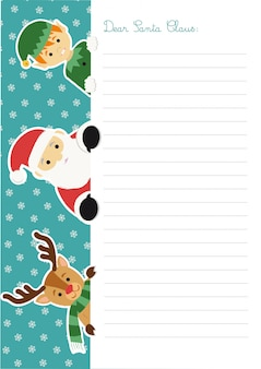 Letter template to santa claus with him, an elf and a reindeer peeping out at the left side