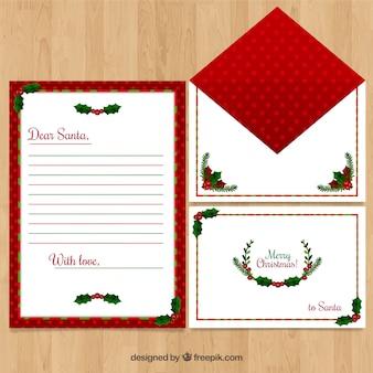 Modello di lettera con decorazioni natalizie tipiche