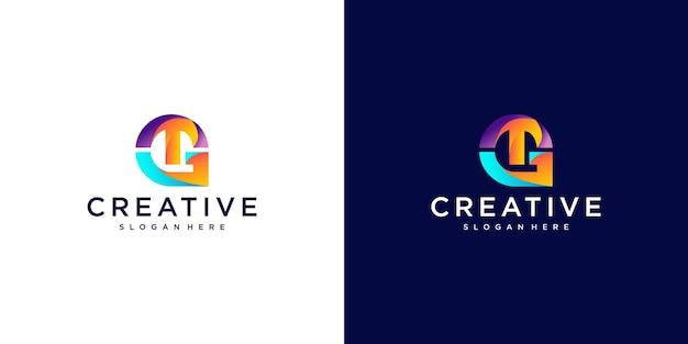 Letter tg gradient logo design