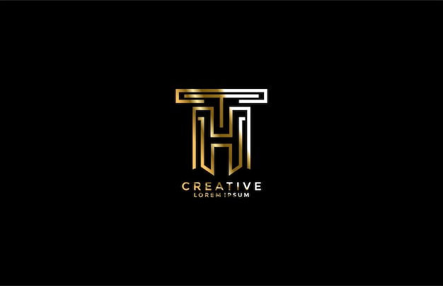 Буква th сочетание золотой логотип