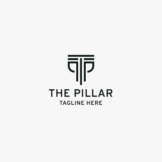 Letter tp pillar logo initial design template