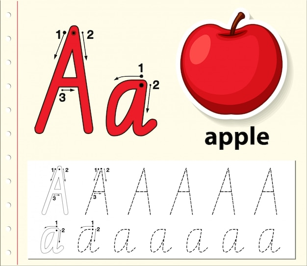 Letter a tracing alphabet worksheets