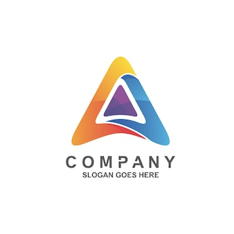 Letter a and triangle logo design