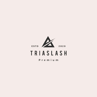A letter triangle logo hipster retro vintage  icon illustration