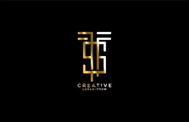 Буква ts сочетание золотой логотип