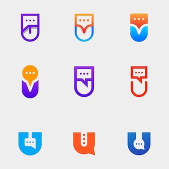 Letter u chat logo design template vector illustration