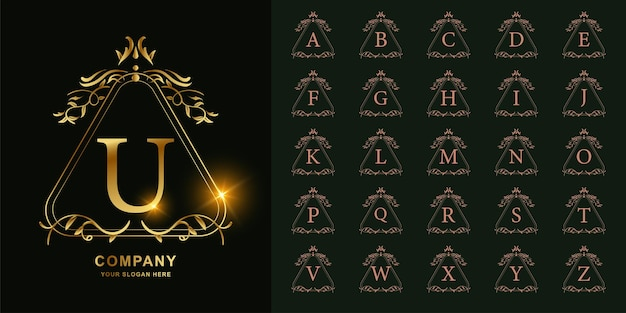 Letter u or collection initial alphabet with luxury ornament floral frame golden logo template.
