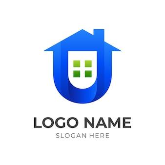 文字uの家のロゴ、家と文字u、3d青と緑のカラースタイルの組み合わせロゴ