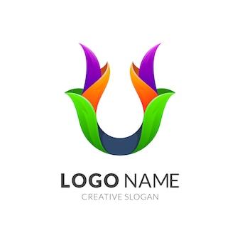 Letter u leaf logo design