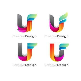 文字uロゴカラフルなデザインベクトル、セット文字