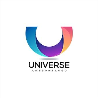 Буква u логотип иллюстрации градиент красочный