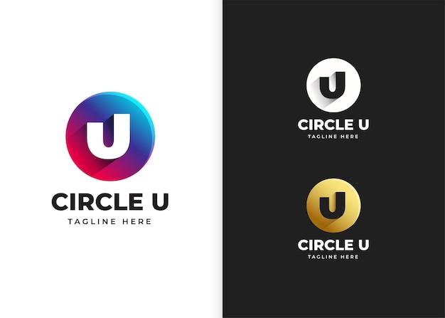Буква u логотип векторные иллюстрации с дизайном в форме круга