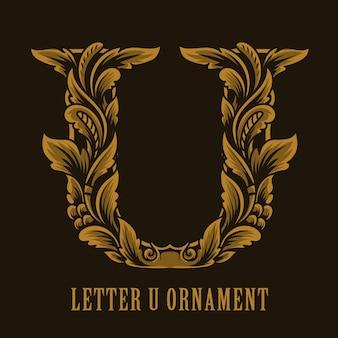 Letter u logo vintage ornament style