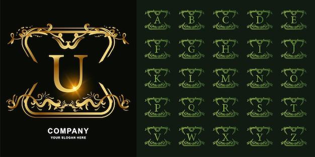 편지 u 또는 고급 장식 꽃 프레임 황금 로고 템플릿이 있는 컬렉션 초기 알파벳입니다.