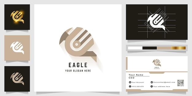 Буква u или логотип монограммы орла с дизайном визитной карточки