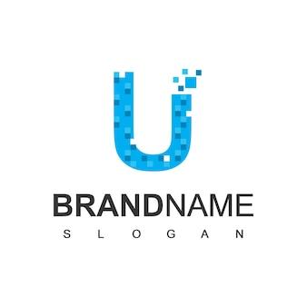 Буква u пиксель логотип