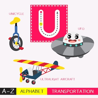 Letter u uppercase tracing transportations vocabulary