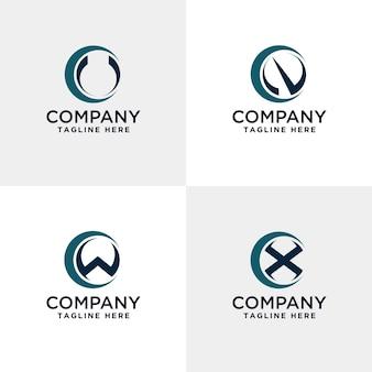 Letter u v w and x modern logo inside the circle