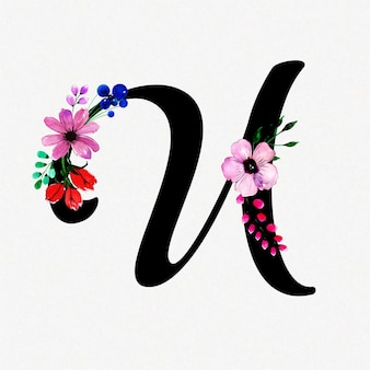 Letter u watercolor floral background