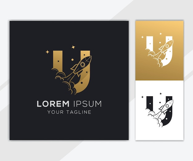 Letter u with luxury abstract rocket logo template