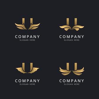 Буква u с роскошным абстрактным шаблоном логотипа крыла
