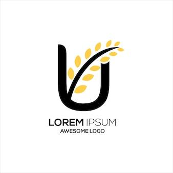 Буква u с логотипом пшеницы