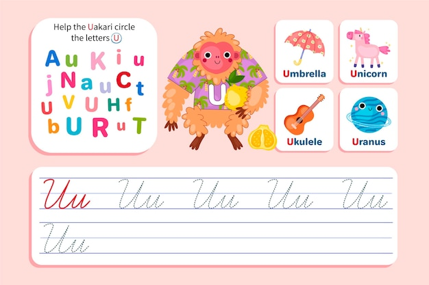 Letter u worksheet with uakari