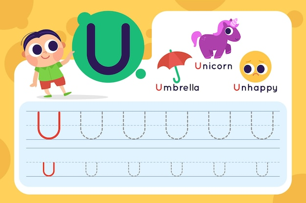 Letter u worksheet with umbrella and unicorn