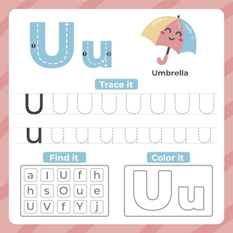 Letter u worksheet with umbrella