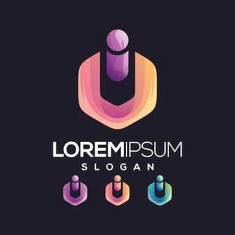 Letter ui gradient collection logo design