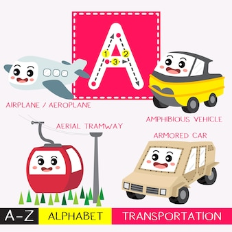 Letter a uppercase tracing transportations vocabulary