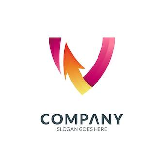 Letter v and arrow creative logo design concept