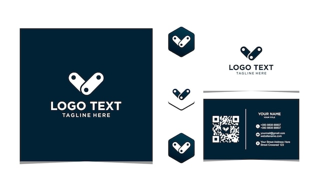 Letter v chain icon design inspiration for company and business card premium vector