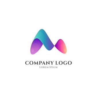 Letter v colorful gradient logo template