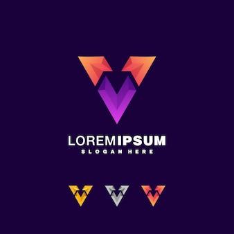 Letter v colorful logo set