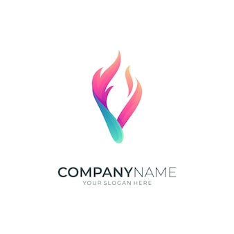 Letter v and fire creative logo design concept