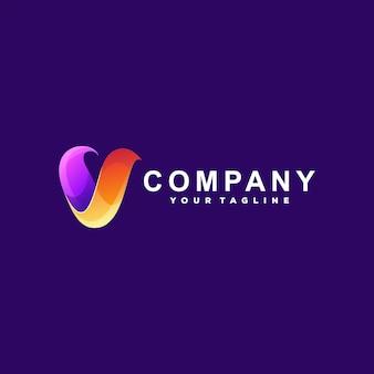 Буква v градиентный дизайн логотипа