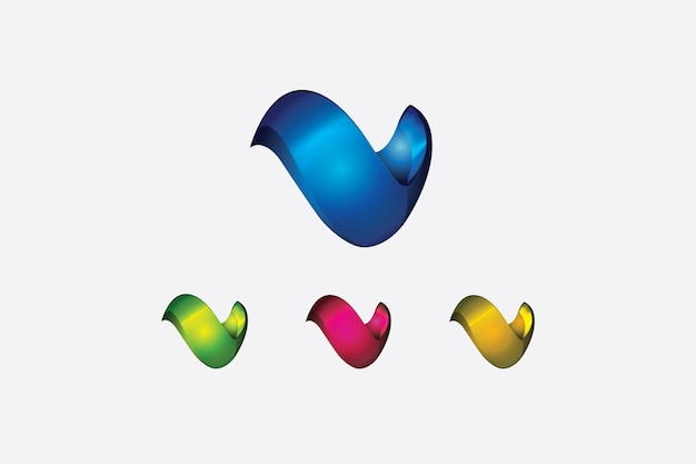 The letter v has made a logo in 3d shape