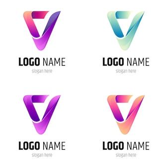 Letter v logo color variation