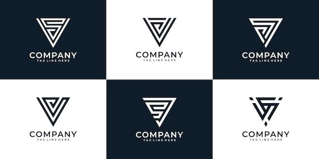 비즈니스 회사를 위한 편지 v 로고 디자인