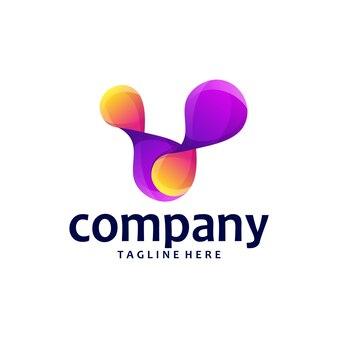 Letter v logo design gradient
