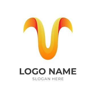 3dオレンジとブルーのカラースタイルの文字vロゴデザイン