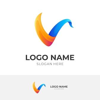 Letter v logo design with 3d orange and blue color style