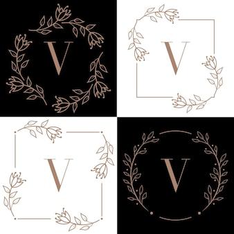 蘭の葉の要素と文字vのロゴのデザイン