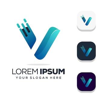 편지 v 로고 디자인