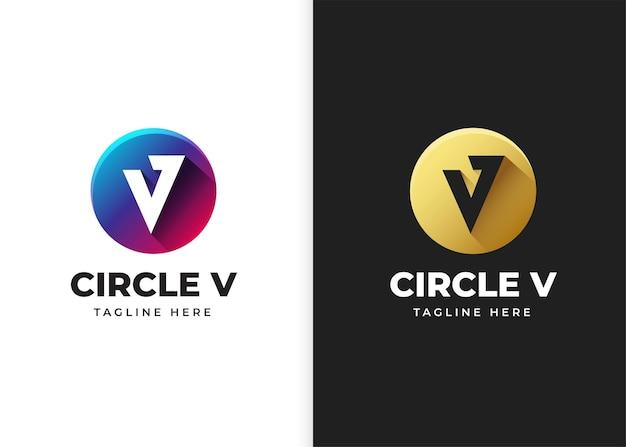 Буква v логотип векторные иллюстрации с дизайном в форме круга