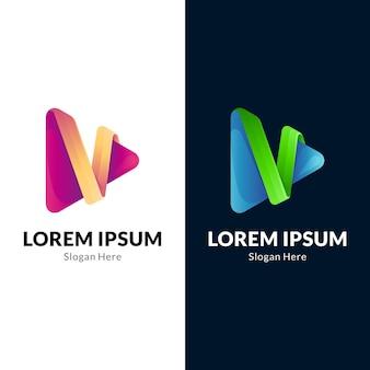 Letter v media play logo
