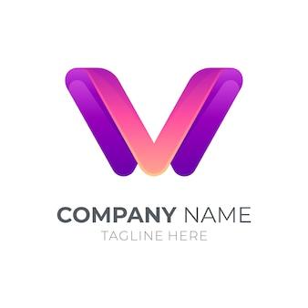 文字vまたは文字wロゴのコンセプト